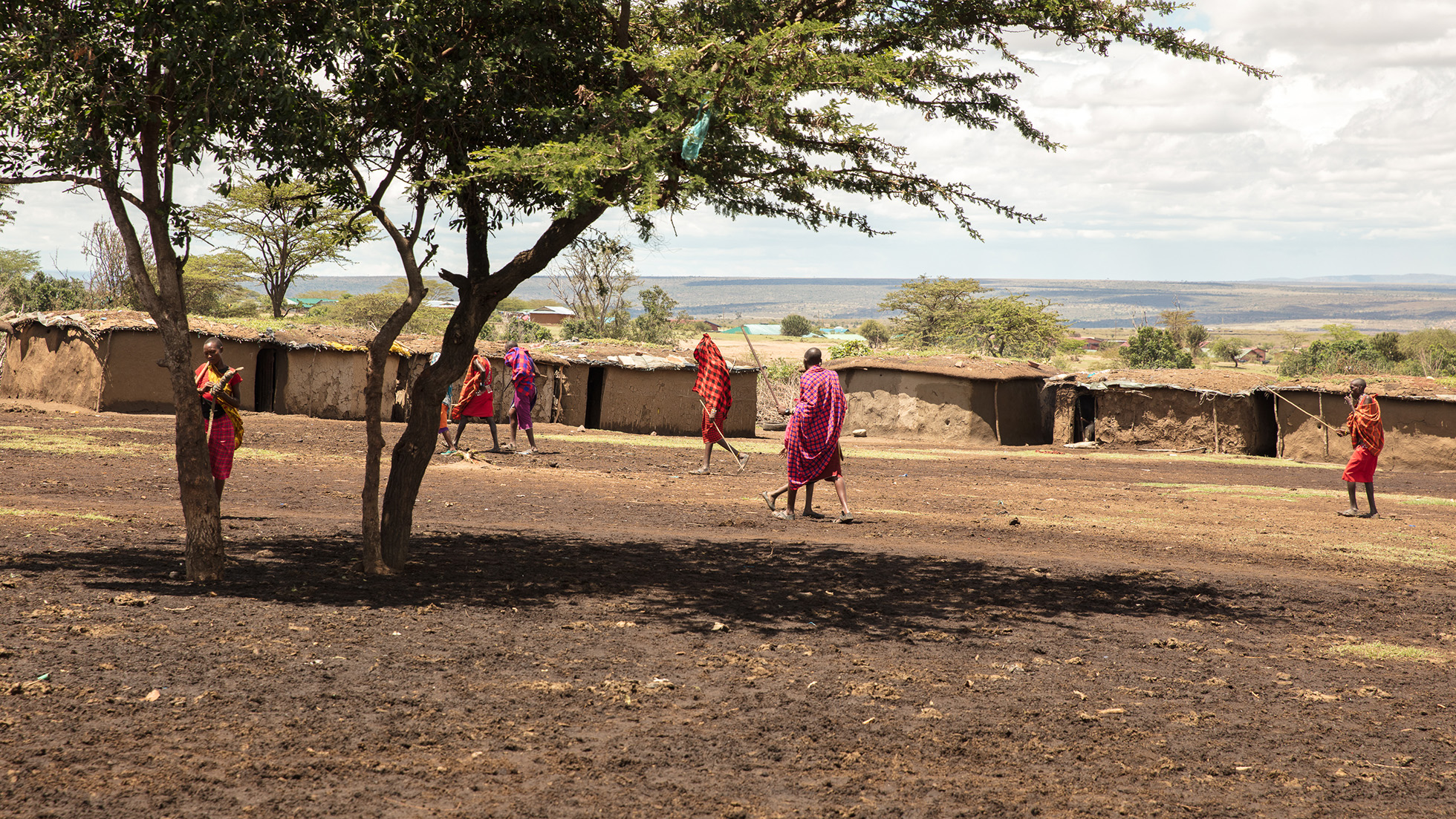 This masai village has its houses built in a circle. At night, cows stay at the inside, and is then protected from predators . At day, they are taken out for grazing. Photo: Per Harald Olsen/AfricanBioServices