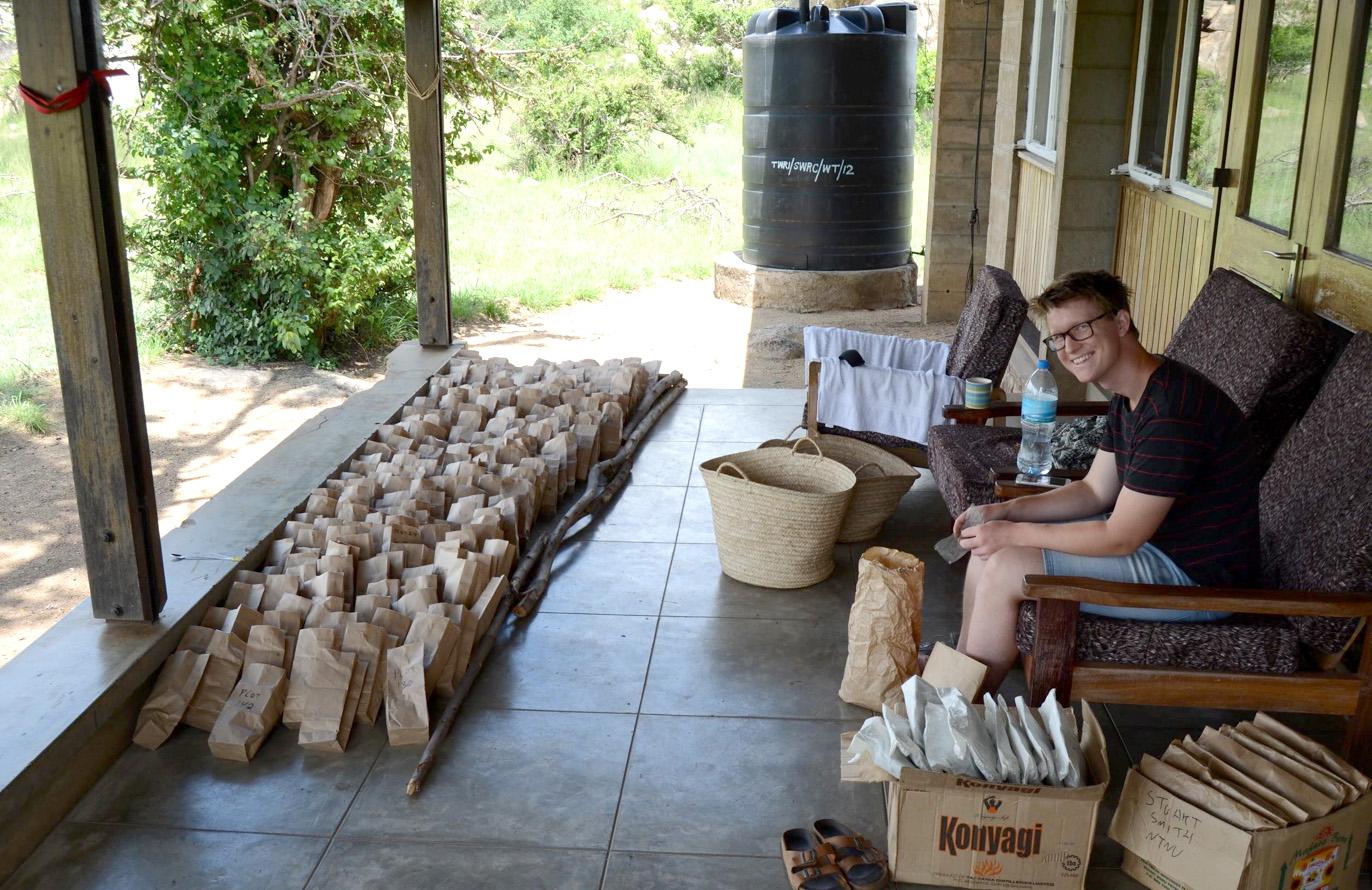 Anders sorting his many teabag samples, in NTNU house in Seronera.